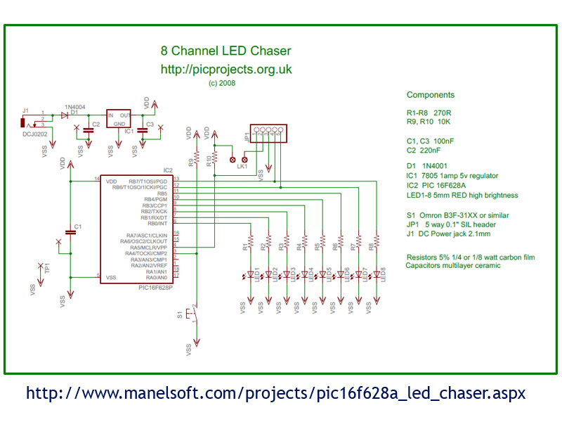 PIC16F628A LED Chaser